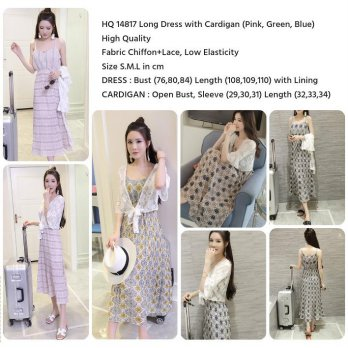 Long Dress with Cardigan (PINK,GREEN,BLUE size S,M,L)-14817