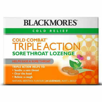 Blackmores Cold Combat Triple Action Sore Throat Lozenge - 24 Lozenges