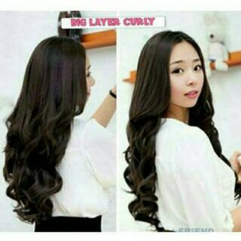 Wig rambut palsu fashion wanita hairclip hair clip hair klip hairklip big layar big layer curly curli 60-65cm best seller