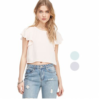 [FOREVER 21] BRANDED FLUTTER CROP BLOUSE FOR WOMAN/BLUS CROP WANITA