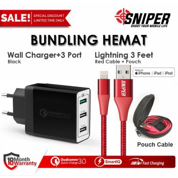 BUNDLING Sniper Wall Charger+3 BLACK & Nylon Braided Lightning 3ft RED
