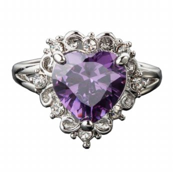 Purple Heart Crystal Platinum Plated Ring