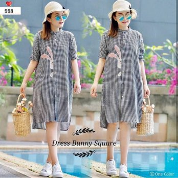 Dress bunny square ECL Bahan katun kotak + bordir fit to L besar