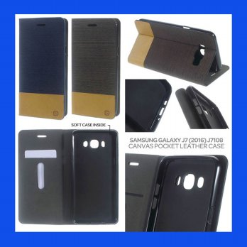 Samsung Galaxy J7 (2016) J710 Canvas Pocket Leather Case Casing Cover