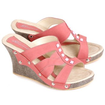 Sandal Wedges | Sandal Wedges Wanita | Warna Salem | Synth | Hak 9 Cm