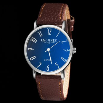 Luxury Fashion Mens Leather Blu-Ray Quartz Analog Wrist Watch