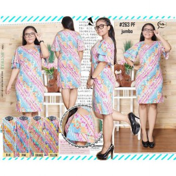 BIG SIZE BATIK FRILL BODYCON DRESS JUMBO 263PF