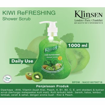 Klinsen Shower Scrub Kiwi Refreshing 1000ml - Sabun Mandi Cair