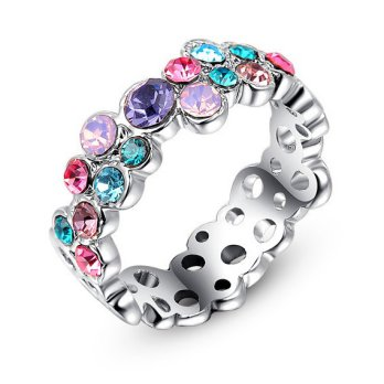 Cincin Colourful Crystal Platinum Plated Ring