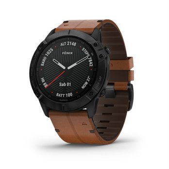 FENIX 6X BLACK DLC WITH BROWN LEATHER BAND