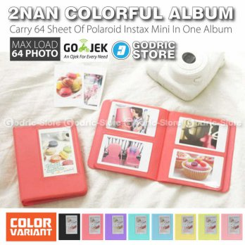 Godric Album 2Nan Colorful 64 Foto Fujifim Instax Mini Polaroid 8 / 9 / 25 / 50 / 90 / SP2 / 2R