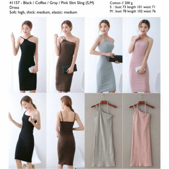 Pink,Gray,Coffee,Black Slim Sling (S,M) Dress -41157