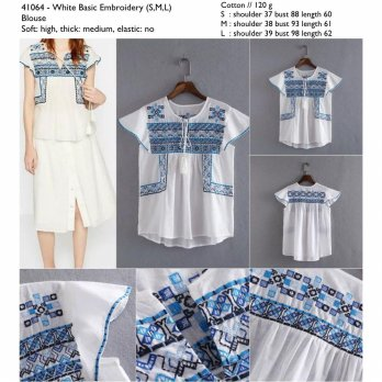 White Basic Embroidery (S,M,L) Blouse -41064