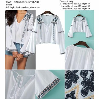 White Embroidery (S,M,L) Blouse -41039