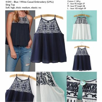 White,blue Casual Embroidery (S,M,L) Sling Top -41041