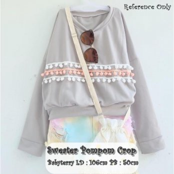 Sweater Pompom Crop Grey SJ0015