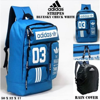 Tas casual ransel adidas stripes biru langit and putih bonus rain cover