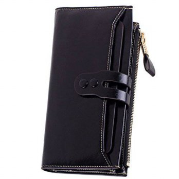 [Macyskorea] Lecxci Women Genuine Leather Large Checkbook, Zipper Multi Credit Cards Clutc / 11639625