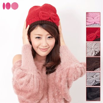 [Good] MIT cotton Picks in Taiwan beret bow + double knitting yarn fever wool cap - multicolor optio
