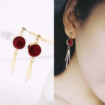 Round PomPom Earrings - Red