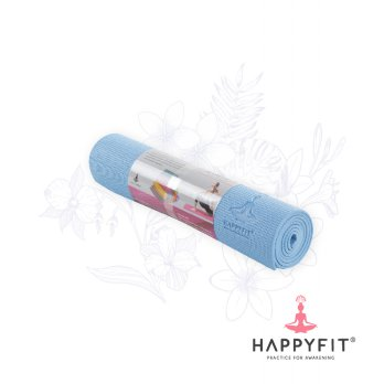 HAPPYFIT MATRAS YOGA 8MM ICE BLUE (GRATIS TAS)/PVC MAT(FREE BAG) TERMURAH