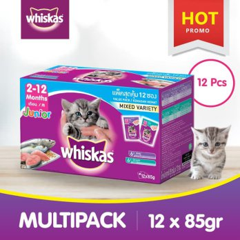 [isi 12 Pack] Whiskas Pouch Junior 85 Gr Makanan Kucing