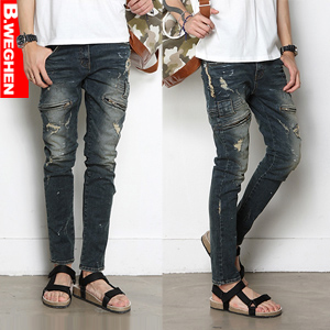Brand New Mens Damage Jeans / Straight-Leg Jeans / Vintage Washing / Denim Pants
