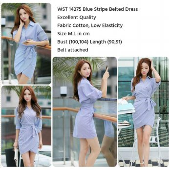 Blue Stripe Belted Dress (size M,L)-14275