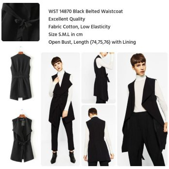 Black Belted Waistcoat (size S,M,L)-14870