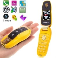 F6 Yellow, Personality Slide Metal Material Mobile Phone with Camera