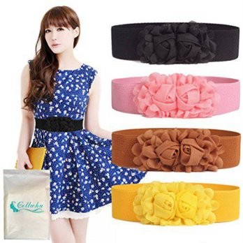 [Macyskorea] Gellwhu 4pcs Womens Fashion Double Rose Flower Buckle Elastic Waist Belt Wais / 11633376