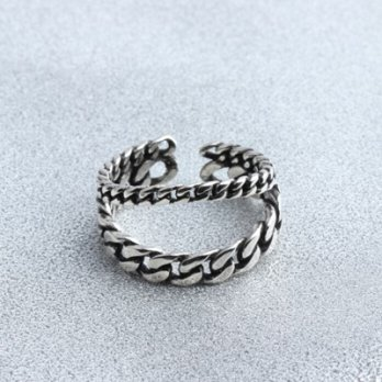 925 sterling silver rings retro twist double ring female ring opening 73gp57 [Milan] Gifts