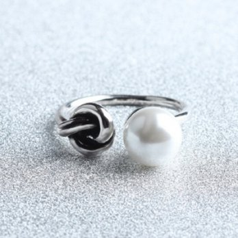 925 sterling silver ring pearl ring opening wild female pop ring 73gp4 Milan [Collectibles]