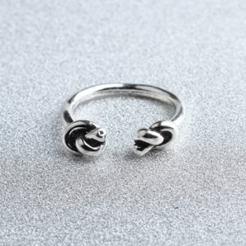 925 sterling silver ring opening double knot ring ring female retro fashion boutique 73gp44 [Milan]