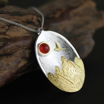 925 sterling silver necklaces agate pendant necklace female bird Yamagata color 73gm37 [2] Milan bou