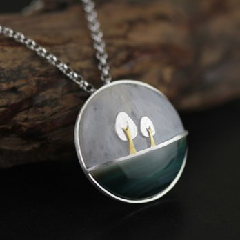 925 sterling silver necklaces agate pendant necklace female trees round 73gm48 [Milan] Gifts