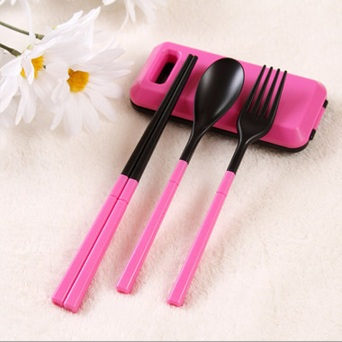 Set Alat Makan sendok sumpit garpu Korean style dapur travel portable - SBB001
