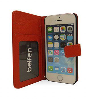 [holiczone] iPhone 5S Case,Belfen Handmade Genuine Leather Flip Wallet case with Stand Fea/259958