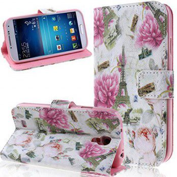 [holiczone] NSSTAR Galaxy S4 Case, Galaxy S4 Wallet Case, ikasus Beautiful Flower Floral P/187049