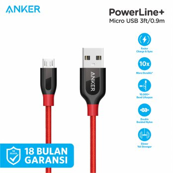 Kabel Charger Anker PowerLine+ Micro USB Cable 3ft/0.9m A8142