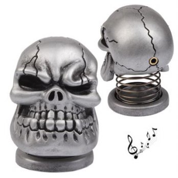 USB Powered Creative Skull Style Mini Metal Speaker (silver)