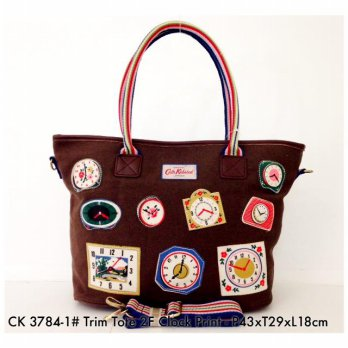 Tas Wanita Import Fashion Trim Tote Bag Clock Print 3784 - 2
