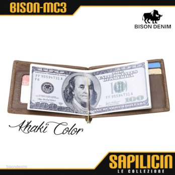 Bison Denim Vintage Mini Slim Spring Money Clip Wallet (BISON-MC3)