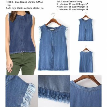Blue round denim blouse S,M,L - 41184