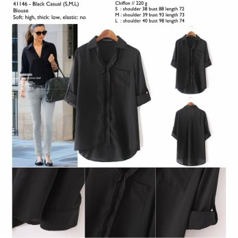 Black Casual Blouse S,M,L - 41146