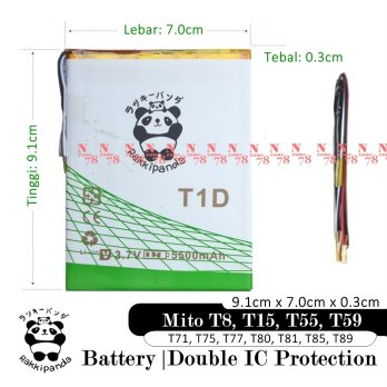 Baterai Mito T77 T80 T81 T85 T89 Tablet T1D Double IC Protection
