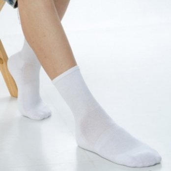 [KEROPPA] Can Nuopa Wide Mouth Lycra Double C98002 White Sports Socks X3