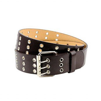 [Macyskorea] NYfashion101 NEW Triple Row 3 Holes Genuine Leather Grommet Belt Brown - XXX- / 11961967