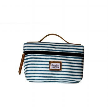 Navy Striped Cosmetic Pouch