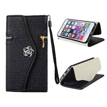 [holiczone] iPhone 6 Plus (5.5-inch) Case, Welity Black Color Zipper Purse with Camellia H/267341